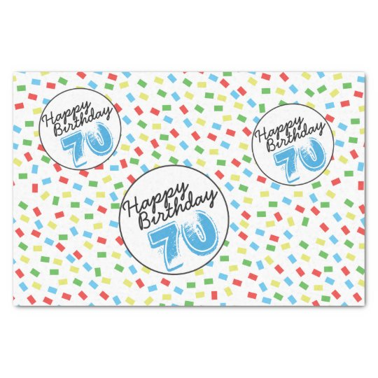 70th Birthday Tissue Paper Festive Colourful