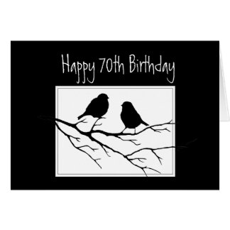 70th Birthday Two Birds in Tree Nature Greeting Card