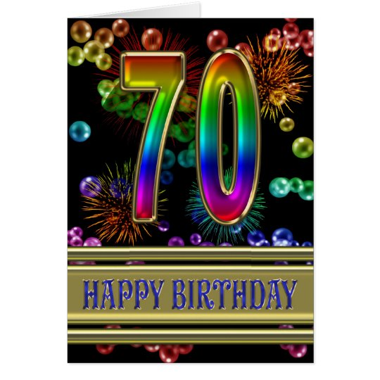 70th Birthday with rainbow bubbles and fireworks Card