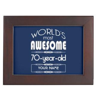 70th Birthday Worlds Best Fabulous Dark Blue Keepsake Box