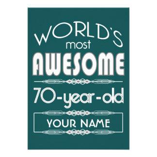 70th Birthday Worlds Best Fabulous Dark Green Personalized Invites