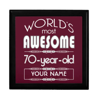70th Birthday Worlds Best Fabulous Dark Red Gift Boxes