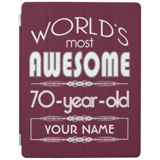 70th Birthday Worlds Best Fabulous Dark Red iPad Cover