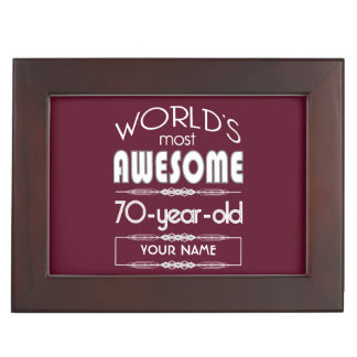 70th Birthday Worlds Best Fabulous Dark Red Keepsake Box