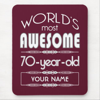 70th Birthday Worlds Best Fabulous Dark Red Mouse Pad