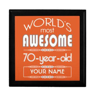 70th Birthday Worlds Best Fabulous Flame Orange Jewelry Box