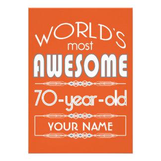 70th Birthday Worlds Best Fabulous Flame Orange Card