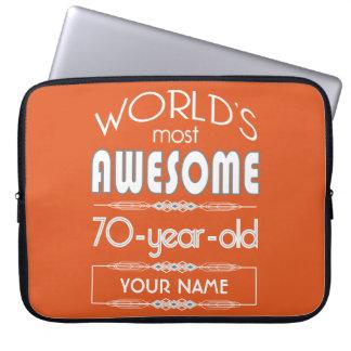 70th Birthday Worlds Best Fabulous Flame Orange Laptop Computer Sleeve