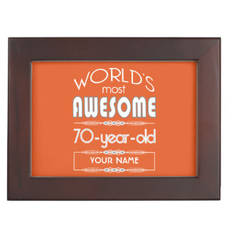 70th Birthday Worlds Best Fabulous Flame Orange Keepsake Box
