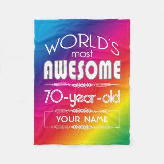 70th Birthday Worlds Best Fabulous Rainbow Fleece Blanket