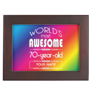 70th Birthday Worlds Best Fabulous Rainbow Memory Boxes