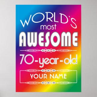 70th Birthday Worlds Best Fabulous Rainbow Poster