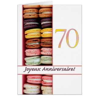 70th French Birthday Macaron-Joyeux Anniversaire! Card