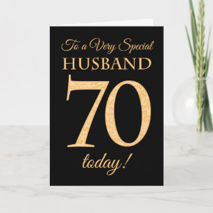 70th Gold Effect On Black For Husband Birthday Card