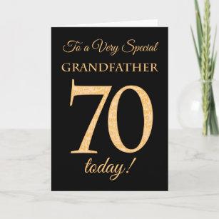 70th Gold Effect On Black Grandfather Birthday Card