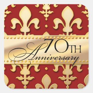 70th, Gold Tone Wedding Anniversary, Fleur de Lis Square Sticker