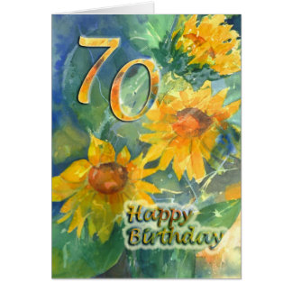 70th Happy Birthday Card - Sunflowers