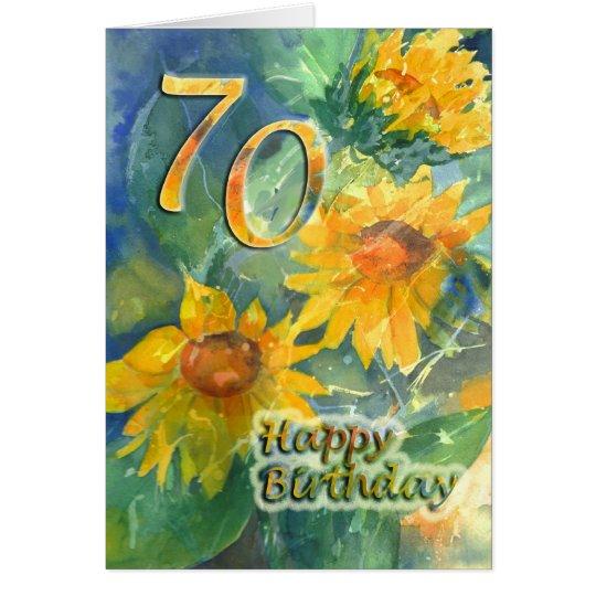 70th Happy Birthday Card - Sunflowers