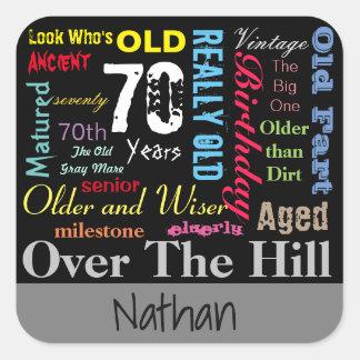 70th Happy Birthday | Milestone Square Sticker