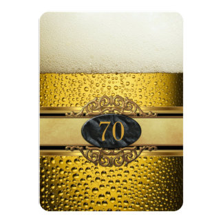 70th Mans Beer Black Gold Birthday Party 4.5x6.25 Paper Invitation Card