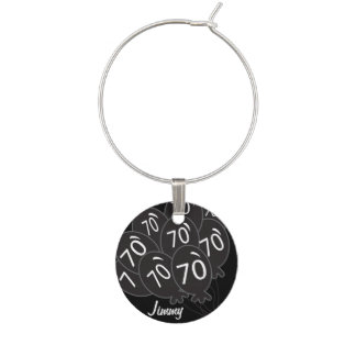 70th Personalize Black Balloon Birthday Wine Glass Charms