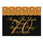 70th Save the Date Birthday Gold Black Lace