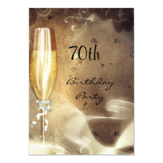 70th Sepia Champagne Glass 13 Cm X 18 Cm Invitation Card