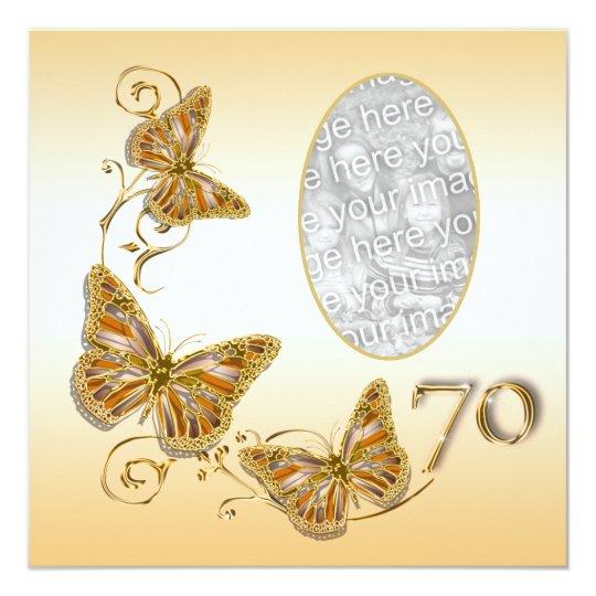 70th seventieth birthday autumn photo card