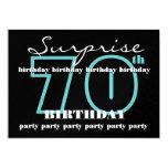 70th SURPRISE Birthday Party Aqua Black Metallic 13 Cm X 18 Cm Invitation Card