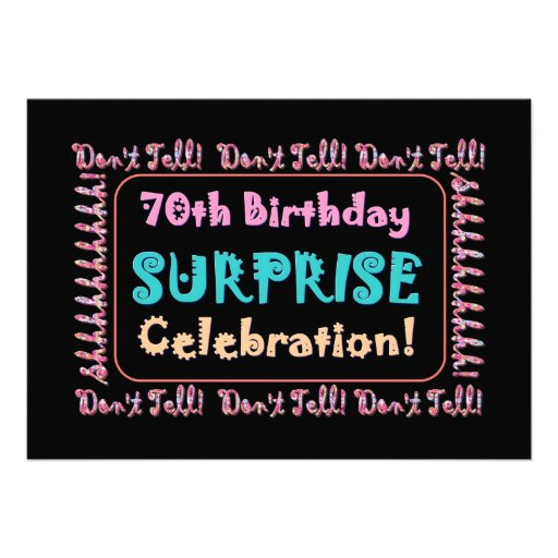 70th SURPRISE Birthday Party Invitation Template 13 Cm X ...