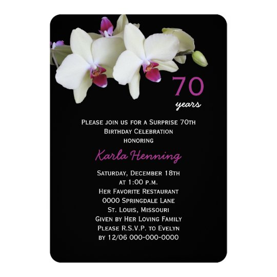 70th Surprise Birthday Party Orchid on Black Card