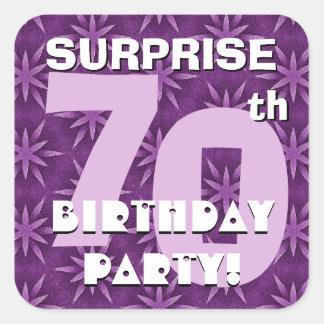 70th SURPRISE Birthday Purple Fireworks  V04 Sticker