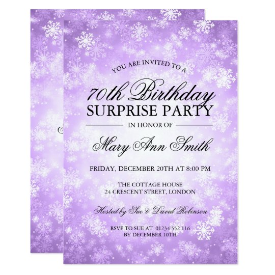 70th Surprise Birthday Purple Winter Wonderland Card