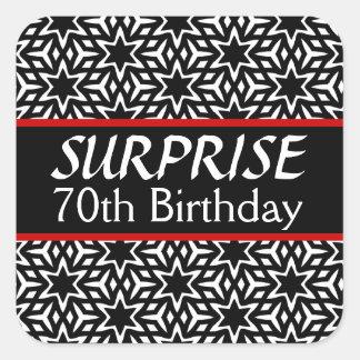 70th SURPRISE Birthday Retrp Stars Black White V05 Sticker