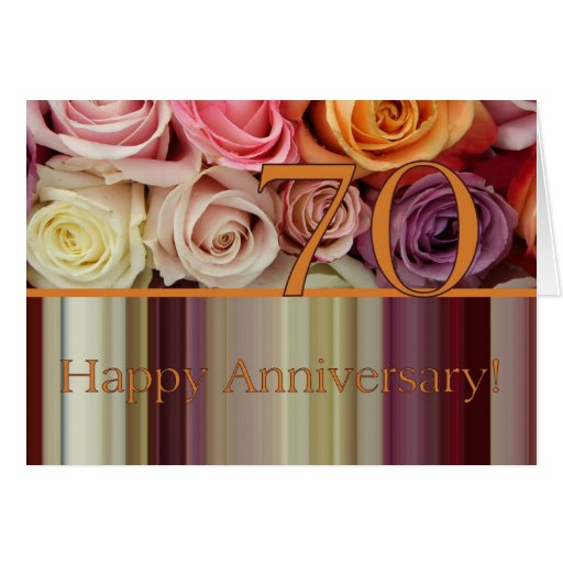 70th Wedding Anniversary Gift: 70th Wedding Anniversary Card -Pastel Roses Stripe