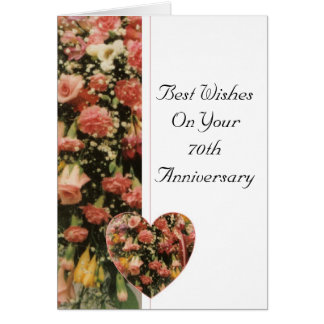 70th Wedding Anniversary Flower Bouquet Greeting Card