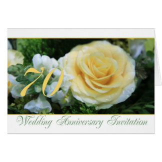 70th Wedding Anniversary Invitation - Yellow Rose