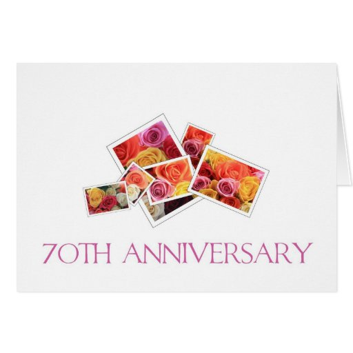 70th Wedding Anniversary mixed rose bouquet Greeting Cards