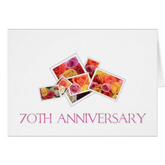 70th Wedding Anniversary mixed rose bouquet Greeting Card