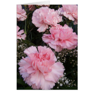 70th Wedding Anniversary Pink Carnations Card