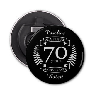 70th Wedding ANNIVERSARY PLATINUM Bottle Opener