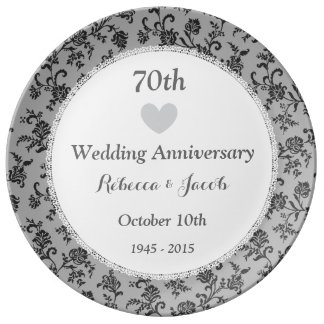 70th Wedding Anniversary PLATINUM Damask W70A Porcelain Plate