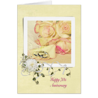 70th Wedding Anniversary Roses Greeting Card