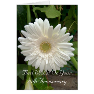 70th Wedding Anniversary White Gerbera Card