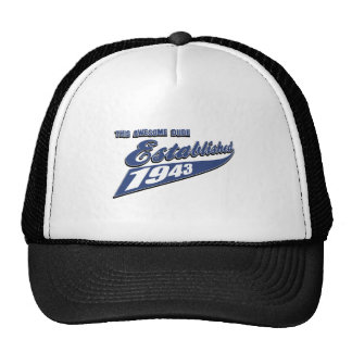 70th year old birthday designs mesh hats
