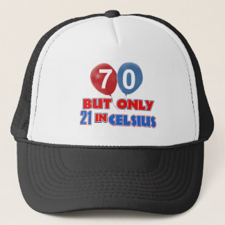70th year old birthday designs trucker hat