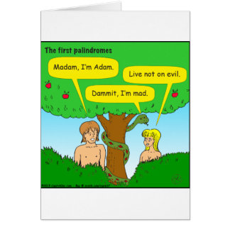 715 adam and eve palindromes cartoon greeting card