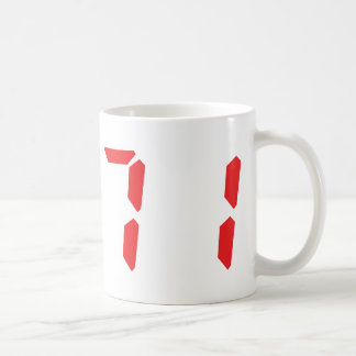 71 seventy-one red alarm clock digital number basic white mug