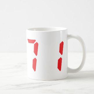 71 seventy-one red alarm clock digital number coffee mug