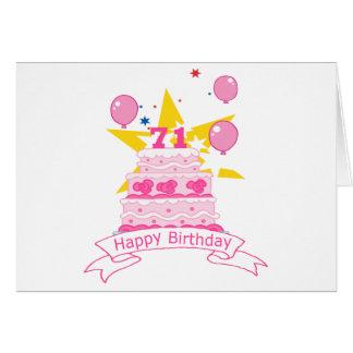 71 Year Old Birthday Cake Greeting Card